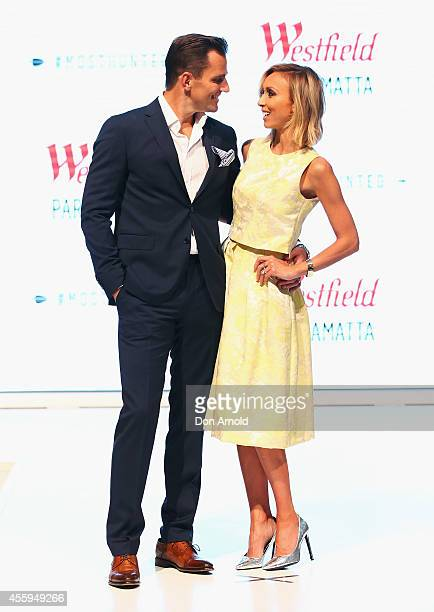 Guiliana Rancic and Bill Rancic pose during the Westfield Spring/Summer campaign at Westfield Parramatta Centre on September 23 2014 in Sydney...