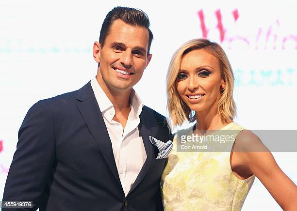 Guiliana Rancic and Bill Rancic pose during the Westfield Spring/Summer campaign at Westfield Parramatta Centre on September 23, 2014 in Sydney,...