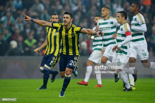 Guiliano Victor De Paulo of Fenerbahce celebrate 0-1 during the Turkish Super lig match between Bursaspor v Fenerbahce at the Timsah Arena on...