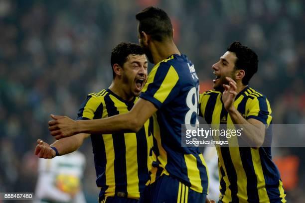 Guiliano Victor De Paulo of Fenerbahce celebrate 01 with Josef De Souza Dias of Fenerbahce during the Turkish Super lig match between Bursaspor v...