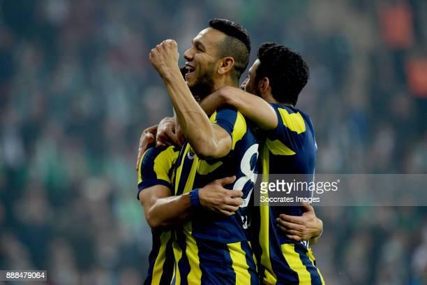 Guiliano Victor De Paulo of Fenerbahce celebrates 01 with Josef De Souza Dias of Fenerbahce during the Turkish Super lig match between Bursaspor v...