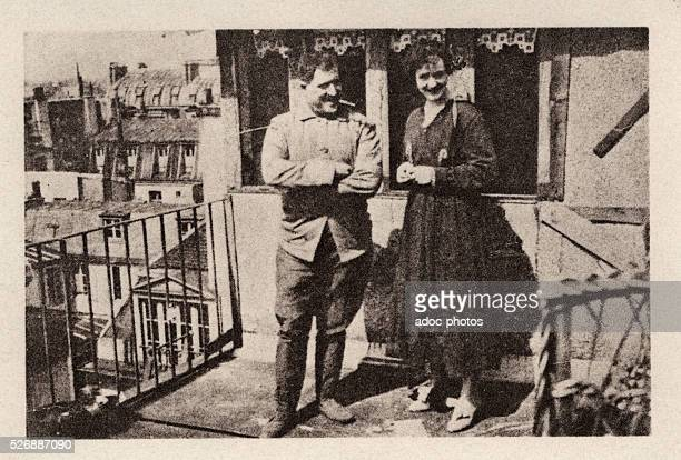 Guillaume Apollinaire and his wife Jacqueline Kolb on the terrace of the boulevard SaintGermain in Paris In 1918