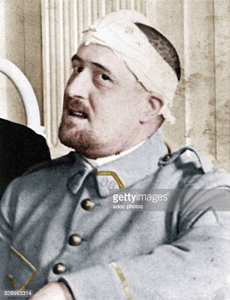Guillaume Apollinaire Portrait of the poet with the bandaged head In May 1916 Coloured photograph