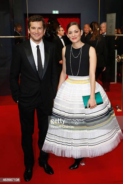 Guillaume Canet and Marion Cotillard arrive at the 40th Cesar Film Awards 2015 Cocktail at Theatre du Chatelet on February 20 2015 in Paris France