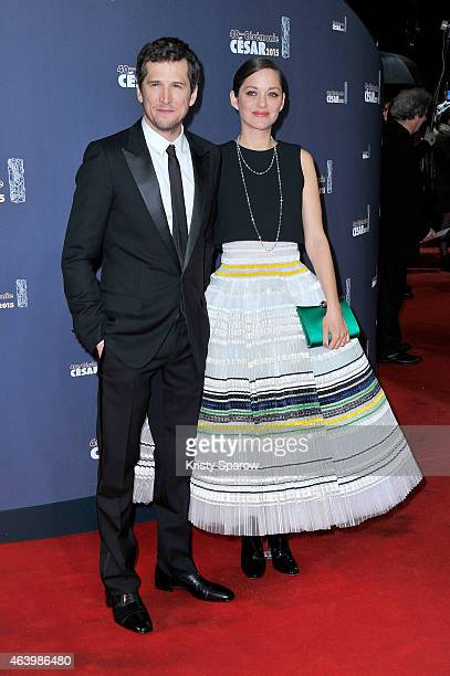 Guillaume Canet and Marion Cotillard attend the 40th Cesar Film Awards at Theatre du Chatelet on February 20 2015 in Paris France