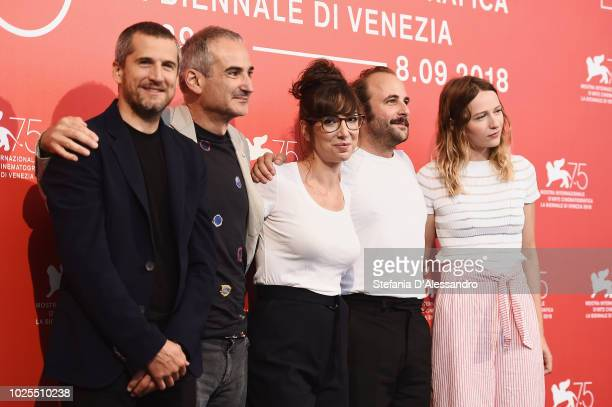 Guillaume Canet Olivier Assayas Nora Hamzawi Vincent Macaigne and Christa Theret attend 'Doubles Vies ' photocall during the 75th Venice Film...