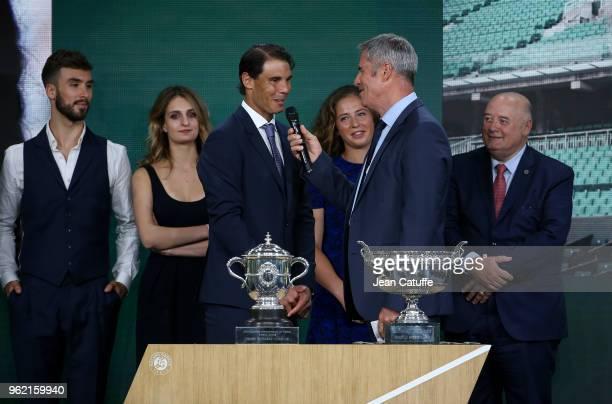 Guillaume Cizeron Gabriella Papadakis winners of 2017 French Open Rafael Nadal of Spain Jelena Ostapenko of Lettonia presenter Marc Maury President...