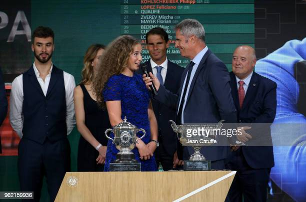 Guillaume Cizeron winners of 2017 French Open Jelena Ostapenko of Lettonia Rafael Nadal of Spain presenter Marc Maury President of French Tennis...