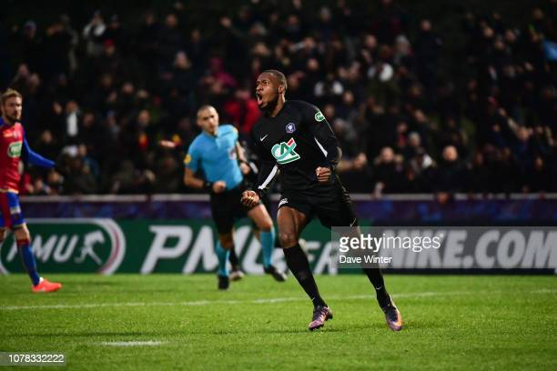 Guillaume Dali of Noisy Le Grand FC celebrates after his deflected shot puts his side 10 ahead during the French Cup match between Noisy le Grand and...