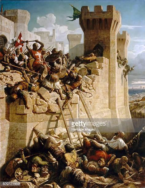 Guillaume de Clermont defending the walls at the Siege of Acre 1291 Found in the collection of Musée de l'Histoire de France Château de Versailles