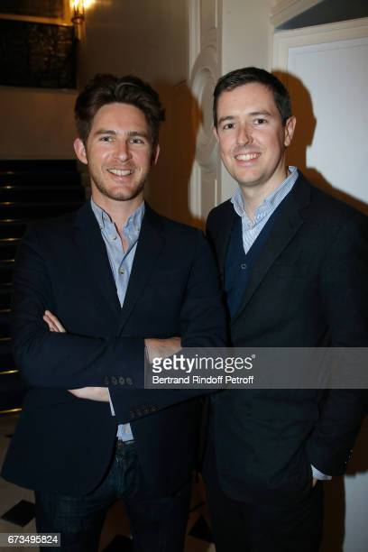 Guillaume de Lestrange and Galerist PierreAlain Challier attend the presentation of the Book 'Scenes De Crime au Louvre' written by Christos...