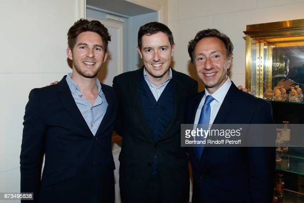 Guillaume de Lestrange Galerist PierreAlain Challier and Stephane Bern attend the presentation of the Book 'Scenes De Crime au Louvre' written by...