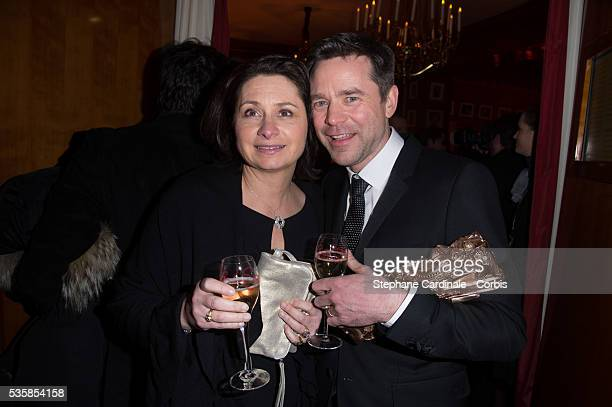 Guillaume de Tonquedec and his wife attend the Cesar Film Awards Dinner 2013 at Le Fouquet's in Paris