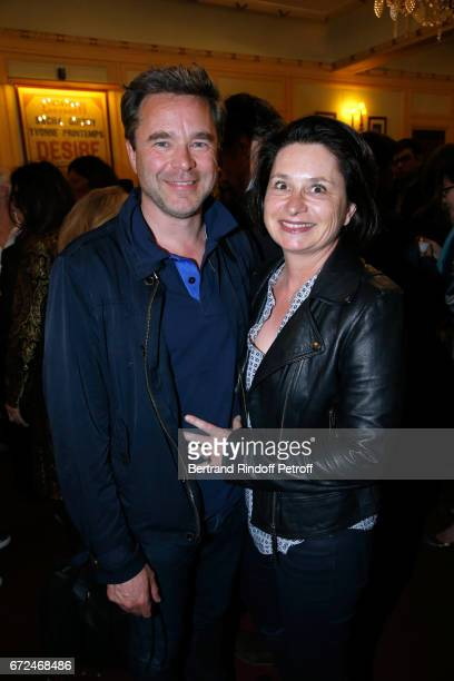 Guillaume de Tonquedec with his wife Christelle attend 'La Recompense' Theater Play at Theatre Edouard VII on April 24 2017 in Paris France