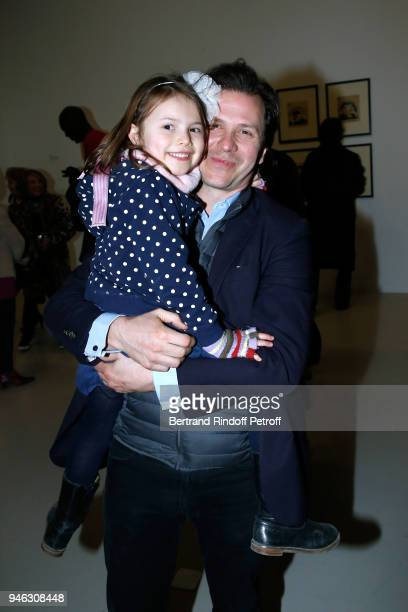 Guillaume Debre and his daughter attend the Chagall Lissitzky Malevitch L'Avantgarde Russe a Vitebsk 19181922 Press Preview at Centre Pompidou on...