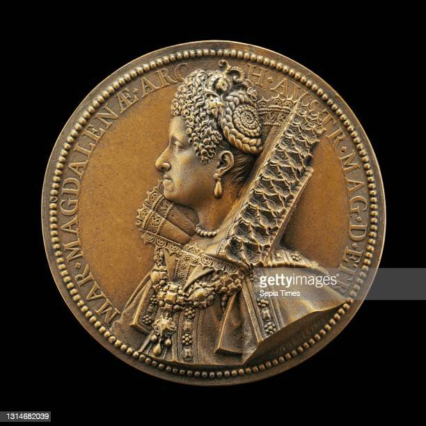 Guillaume Dupré, , French, c. 1574 - 1642, Maria Magdalena, Grand Duchess of Tuscany, Wife of Cosimo II de' Medici 1589 bronze//Cast hollow, overall...