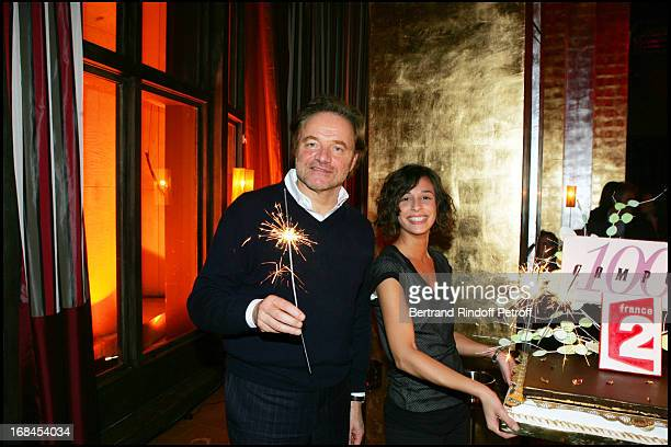 Guillaume Durand and cake at 100th Episode Of 'Campus' Of Guillaume Durant At Le Cafe De L'Homme Restaurant At The Trocadero