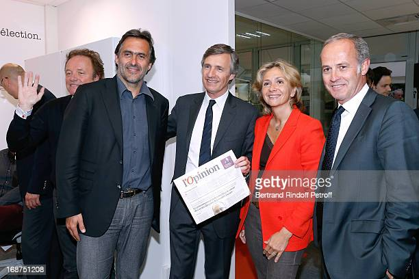 Guillaume Durand Emmanuel Chain President of L'Opinion Nicolas Beytout Valerie Pecresse and CEO of group Conde Nast France Xavier Romatet attend...