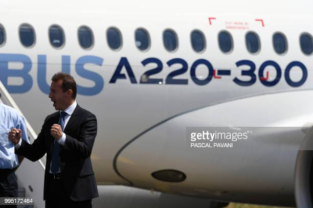 Guillaume Faury President of the Airbus Commercial Aircraft gestures during the presentation of the new Airbus A220300 on July 10 2018 at the Airbus...