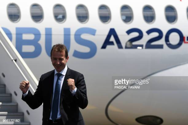 Guillaume Faury President of the Airbus Commercial Aircraft poses during the presentation of the new Airbus A220300 on July 10 2018 at the Airbus...