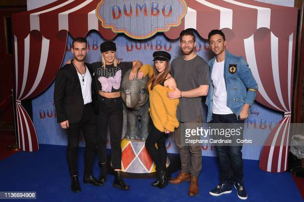 "Guillaume Foucault Katrina Patchett Jade Geropp YannAlrick Mortreuil and Maxime Dereymez attend the ""Dumbo"" Paris Gala Screening at Cinema Le Grand..."