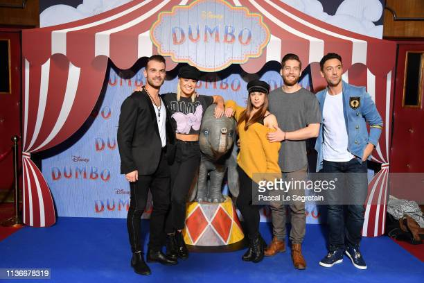 "Guillaume Foucault Katrina Patchett Jade GeroppYannAlrick Mortreuil and Maxime Dereymez attend the ""Dumbo"" Paris Gala Screening at Cinema Le Grand..."