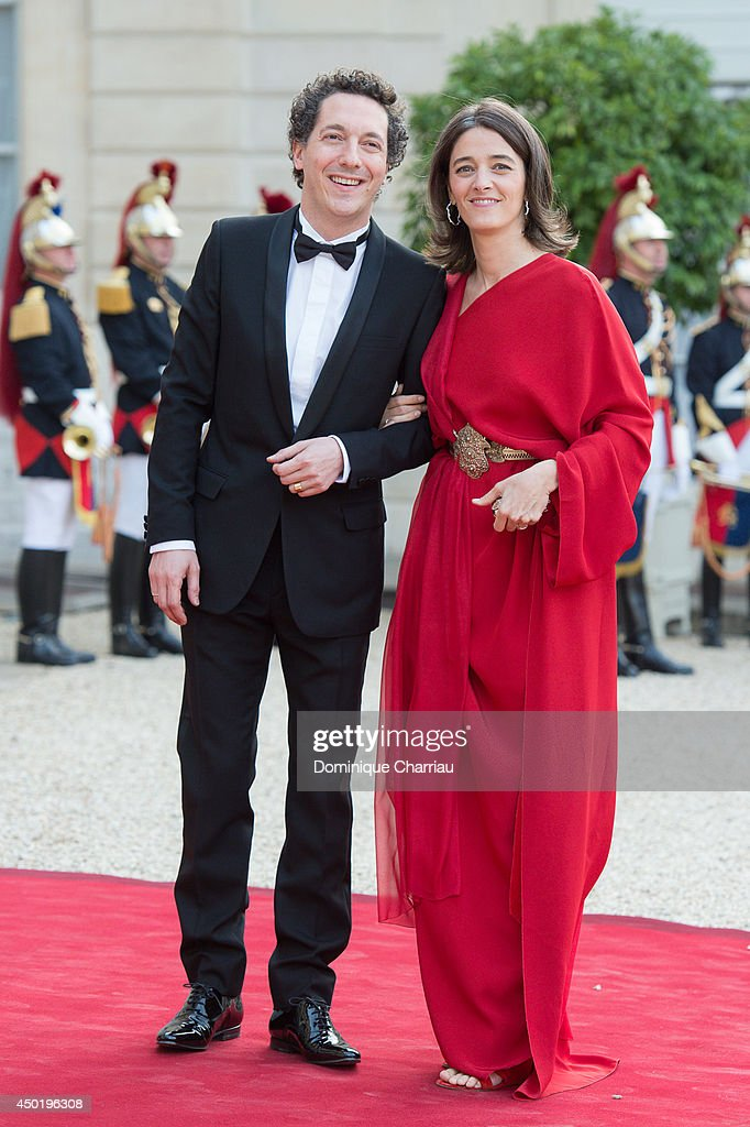Guillaume Gallienne and Amandine Gallienne arrive at the Elysee Palace for a State dinner in honor of Queen Elizabeth II, hosted by French President Francois Hollande as part of a three days State visit of Queen Elizabeth II after the 70th Anniversary Of The D-Day on June 6, 2014 in Paris, France.