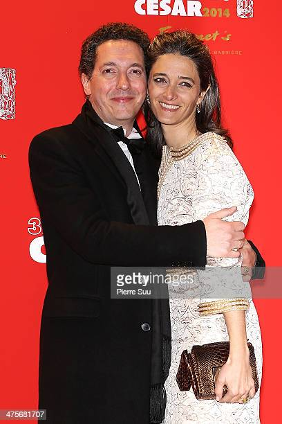 Guillaume Gallienne and his wife Amandine arrive for dinner after the 39th Cesar Film Awards 2014 at Le Fouquet's on February 28, 2014 in Paris,...