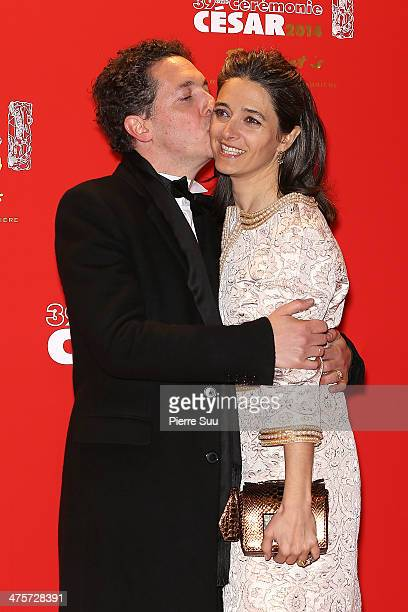 Guillaume Gallienne and his wife Amandine arrive for dinner after the 39th Cesar Film Awards 2014 at Le Fouquet's on February 28 2014 in Paris France