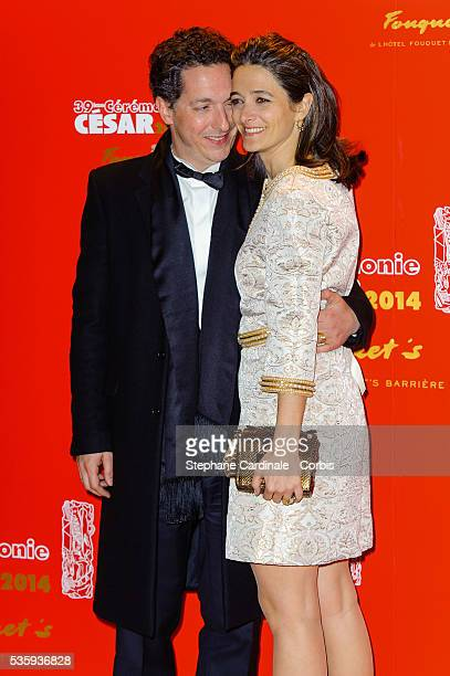 Guillaume Gallienne and his wife Amandine attend the 'Le Fouquet's' Dinner after the 39th Cesar Film Awards 2014 at Le Fouquet's in Paris
