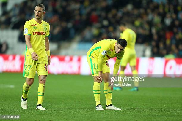 Guillaume Gillet and Mariusz Stepinski of Nantes during the Ligue 1 match between Fc Nantes and Toulouse Fc at Stade de la Beaujoire on November 5...