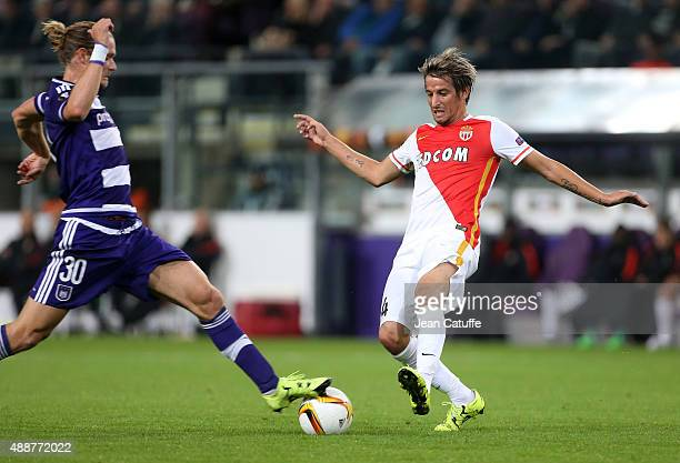Guillaume Gillet of Anderlecht and Fabio Coentrao of Monaco in action during the UEFA Europa League match between RSC Anderlecht and AS Monaco FC at...