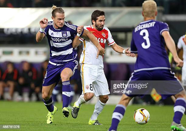 Guillaume Gillet of Anderlecht and Joao Moutinho of Monaco in action during the UEFA Europa League match between RSC Anderlecht and AS Monaco FC at...