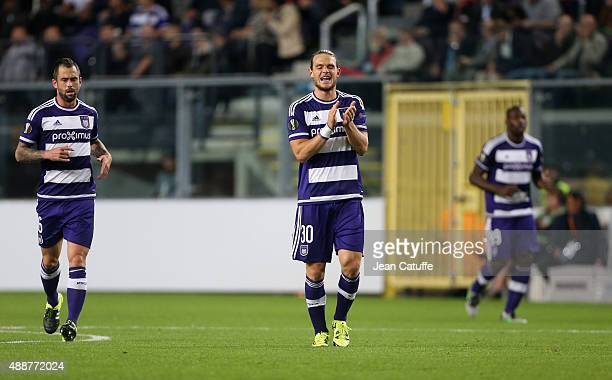 Guillaume Gillet of Anderlecht celebrates scoring a goal during the UEFA Europa League match between RSC Anderlecht and AS Monaco FC at Stade...