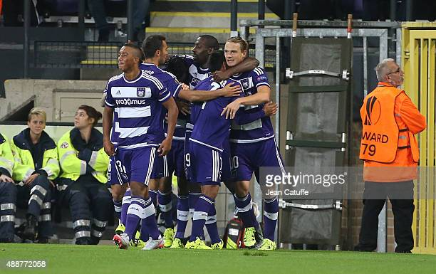 Guillaume Gillet of Anderlecht celebrates with teammates scoring a goal during the UEFA Europa League match between RSC Anderlecht and AS Monaco FC...