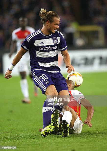 Guillaume Gillet of Anderlecht in action during the UEFA Europa League match between RSC Anderlecht and AS Monaco FC at Stade Constant Vanden Stock...