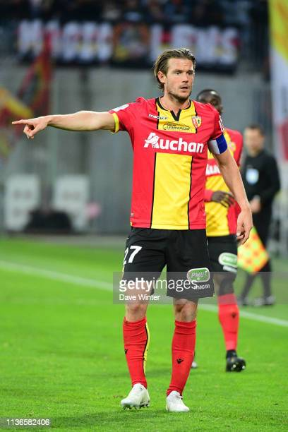 Guillaume Gillet of Lens during the Ligue 2 match between Lens and Valenciennes at Stade BollaertDelelis on April 12 2019 in Lens France