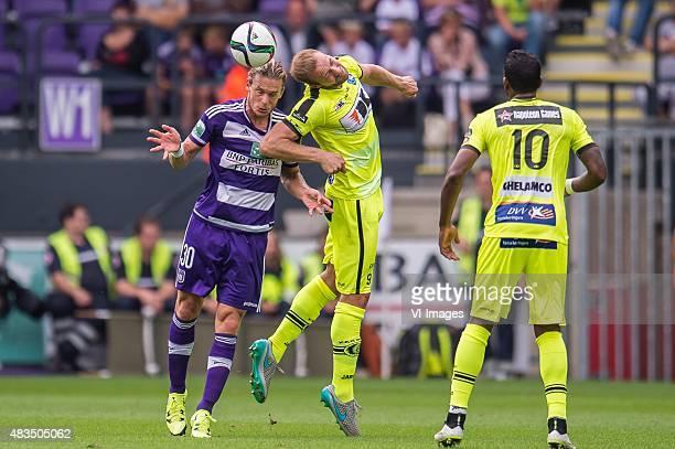 Guillaume Gillet of RSC Anderlecht, Laurent Depoitre of KAA Gent, Renato Cardoso Porto Neto of KAA Gent during the Jupiler Pro League match between...