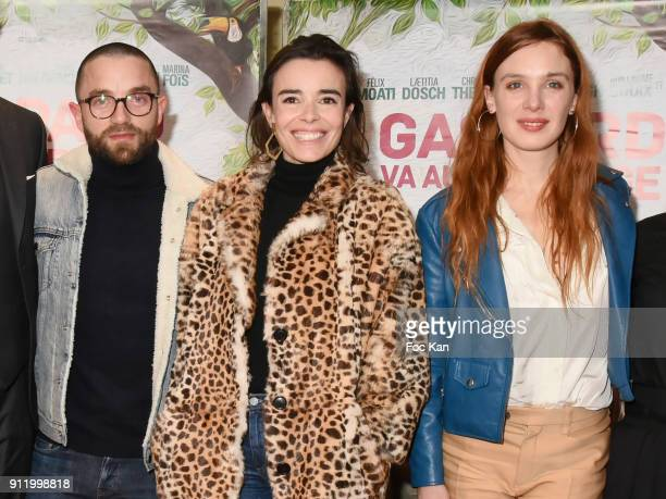 Guillaume Gouix actresses Elodie Bouchez and Laetitia Dosch attend the 'Gaspard va au mariage' premiere at UGC Cine Cite des Halles on January 29...