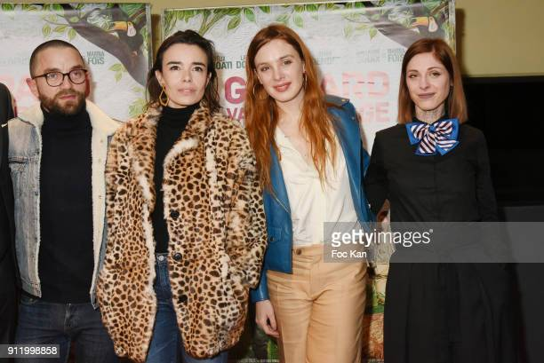 Guillaume Gouix actresses Elodie Bouchez Laetitia Dosch and Noemie Alazard attend the 'Gaspard va au mariage' premiere at UGC Cine Cite des Halles on...