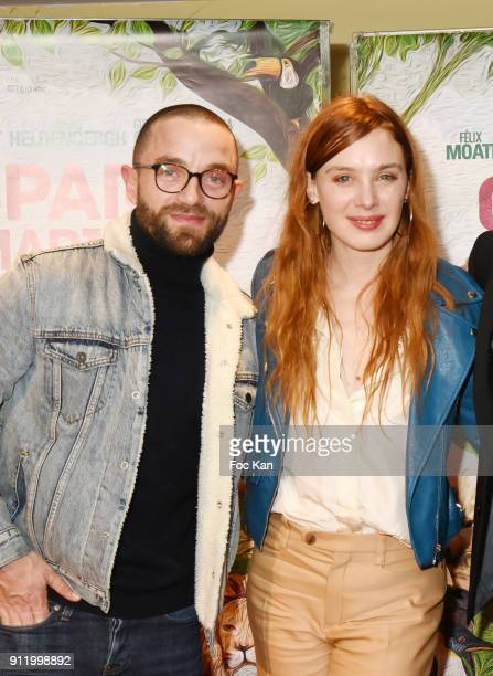 Guillaume Gouix and Laetitia Dosch attend Ç Gaspard Va Au Mariage È Premiere at UGC Cite Les Halles on January 29 2018 in Paris France