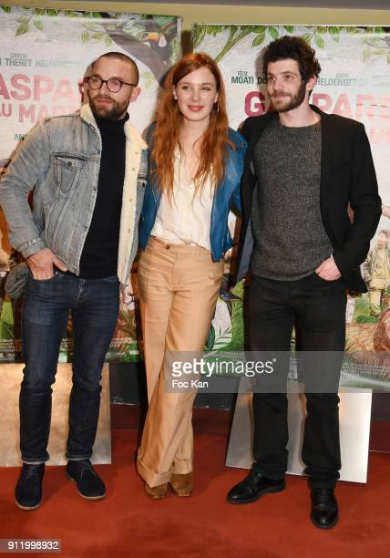 Guillaume Gouix Laetitia Dosch and Felix Moati attend Ç Gaspard Va Au Mariage È Premiere at UGC Cite Les Halles on January 29 2018 in Paris France
