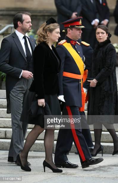 Guillaume Hereditary Grand Duke of Luxembourg and his wife Stephanie Hereditary Grand Duchess of Luxembourg behind them Prince Felix of Luxembourg...