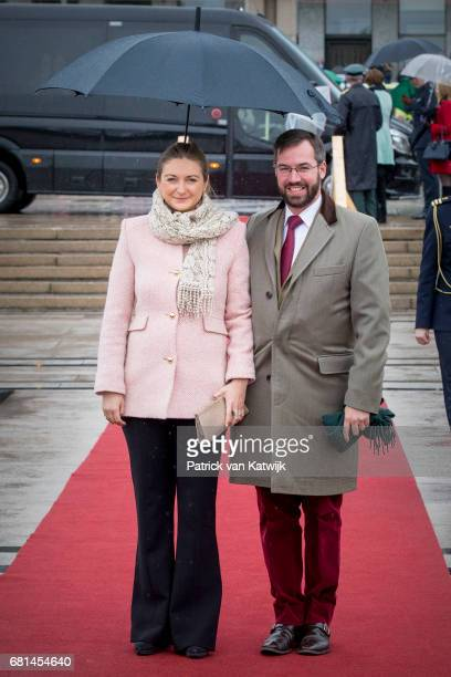 Guillaume Hereditary Grand Duke of Luxembourg and Stephanie Hereditary Grand Duchess of Luxembourg attend a lunch on the Norwegian Royal yatch...