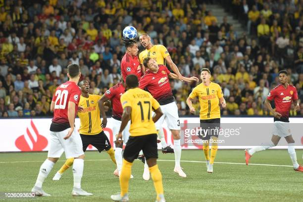 Guillaume Hoarau of Bern and Nemanja Matic of Manchester during the Champions League match between Young Boys Bern and Manchester United at Stade de...