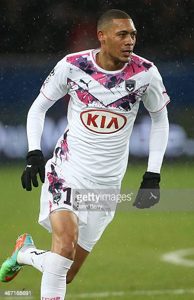 Guillaume Hoarau of Bordeaux in action during the Ligue 1 match between Paris SaintGermain FC and FC Girondins de Bordeaux at the Parc des Princes...