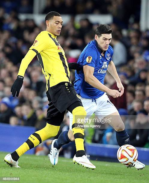 Guillaume Hoarau of BSC Young Boys tackles Everton's Gareth Barry during their UEFA Europa League football match between Everton FC and BSC Young...