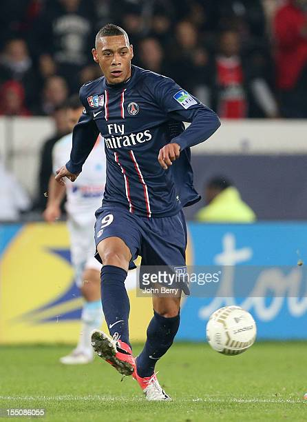 Guillaume Hoarau of Paris Saint Germain in action during the french eightfinals League Cup match between Paris Saint Germain PSG and Olympique de...