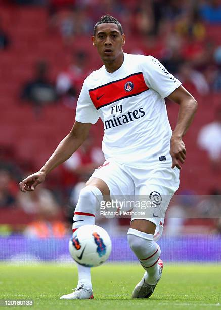 Guillaume Hoarau of Paris St Germain with the ball during the Emirates Cup match between Boca Juniors and Paris St Germain at the Emirates Stadium on...