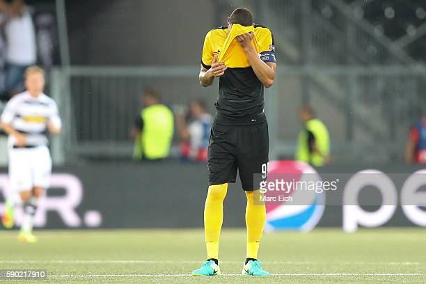 Guillaume Hoarau of Young Boys Bern reacts during the Champions League Playoff match between Young Boys Bern and Borussia Moenchengladbach at Stade...